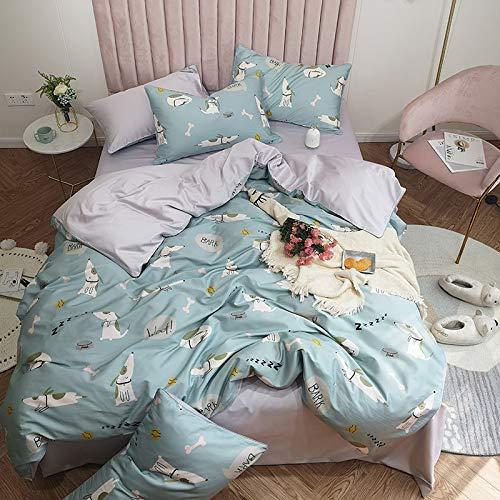 Yaonuli beddengoed van katoen, 4-delig, 1,8 m2.0 Cool Dog Blue 1,5 m bed