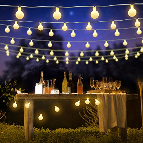FishOaky Lichterkette Außen Batterie, 7M 50 LED Partylichterkette Außen, Wasserdicht Kugel Lichterkette 8 Mode mit Fernbedienung Timer für Weihnachten, Weihnachtsbaum, Party, Garten, Innen (Warmweiß)