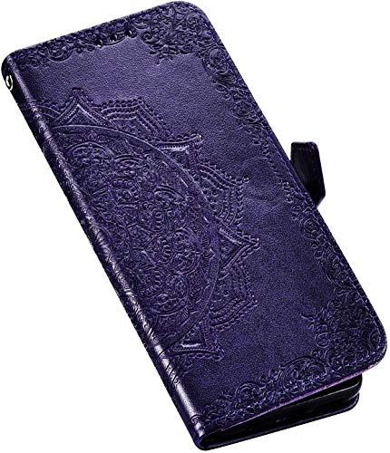 QPOLLY Kompatibel mit LG K40 Hülle Leder Handy Tasche Brieftasche Flip Wallet Case Schutzhülle Mandala Blumen Muster Klapphülle mit Standfunktion für LG K40,Lila