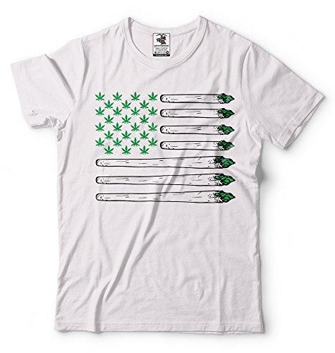 Silk Road Tees Divertido Bandera de Cannabis con Nosotros la Camiseta de los Hombres de la Bandera de Marihuana Camiseta Ganja Weed Marijuana Camiseta