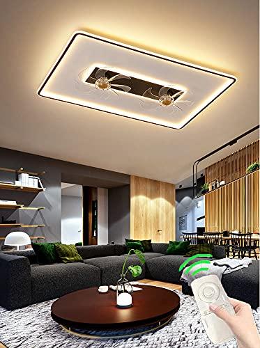 Ventilador de Techo LED para Sala de Estar Con Luz LáMpara de Ventilador Moderna con Quiet Regulable Luz del Ventilador Creatividad Negra con Mando a Distancia Para Dormitorio Infantil 3 Velocidades