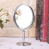 xingguang Espejo de maquillaje giratorio 180 Rotación Portátil Simple Belleza Espejo Cosmético Doble Cara Soporte de Aumento Normal Espejo Tamaño Pequeño (Color: A)