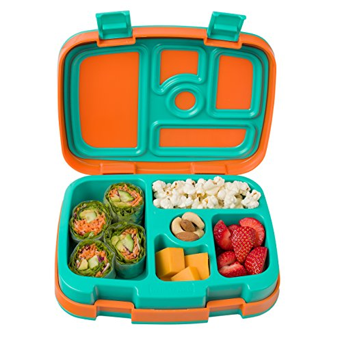 Bentgo Kids Brights – Kinder Lunchbox/Bento Box/Brotdose mit 5 Unterteilungen, auslaufsicher (Orange)