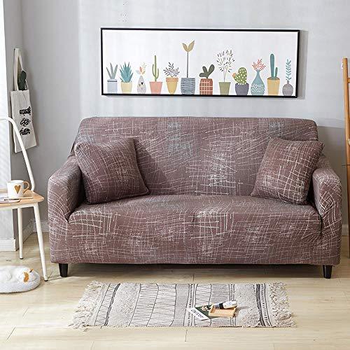 XIAOYAN Funda de sofá de 1/2/3/4 plazas, Fundas elásticas para sofá, Funda de Brazo para Silla para Sala de Estar, Protector de Muebles, Funda de poliéster para sofá-marrón_M el 145-185cm