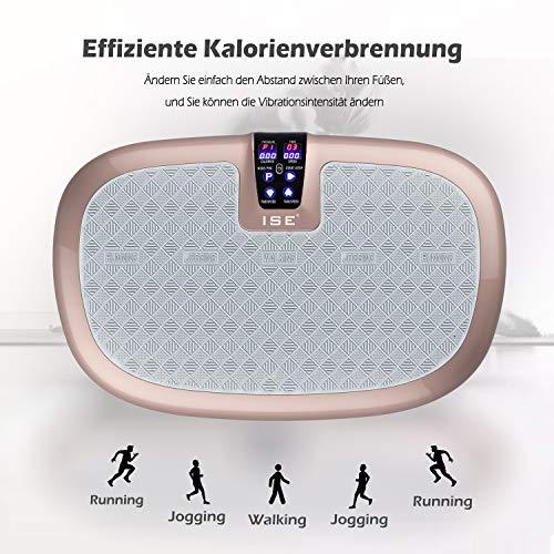 ISE Plateforme Vibrante Fitness Oscillante,Grand Surface,LCD écran Tactile,5 Programmes,99 Niveaux de Vitesse,Perte de Poids & Brûleur de Graisses,INCL. Télécommande & Sangles Élastiquest,
