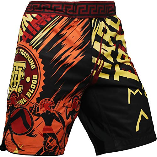 Hardcore Training Sparta Black Fight Shorts Kurze Hose Herren MMA BJJ Grappling Fitness Boxen Muay Thai No Gi