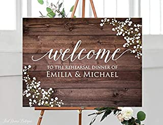 restore2a Rustic Rehearsal Dinner Welcome Sign, Baby?? Breath Rehearsal Wedding Sign, Welcome Wedding Poster, Landscape Sign, Gypsophila