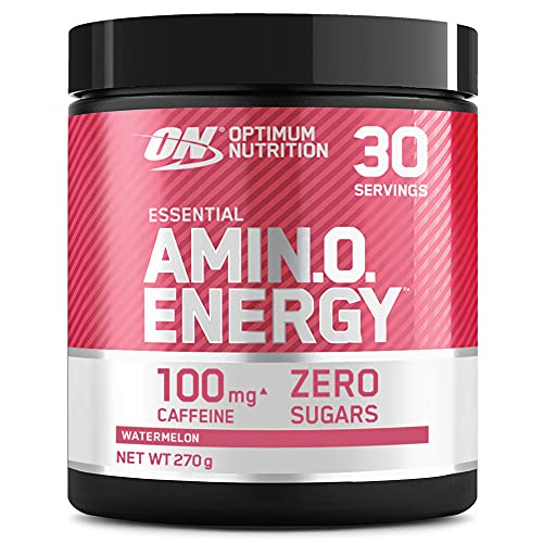 Optimum Nutrition Amino Energy Pre Workout en Polvo, Bebida Energética con Beta Alanina, Vitamina C, Cafeína, Aminoacidos Incluyendo BCAA, Sandía, 30 Porciones, 270g, Embalaje Puede Variar