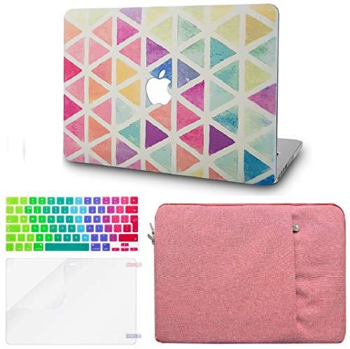 KECC MacBook Pro Retina 13 Pulgadas Funda Dura Case w/EU Cubierta Teclado + Lamina Protectora + Manga Antiguos MacBook Pro 13.3 Retina Ultra Delgado Plástico {A1502/A1425} (Triángulo Coloridos)