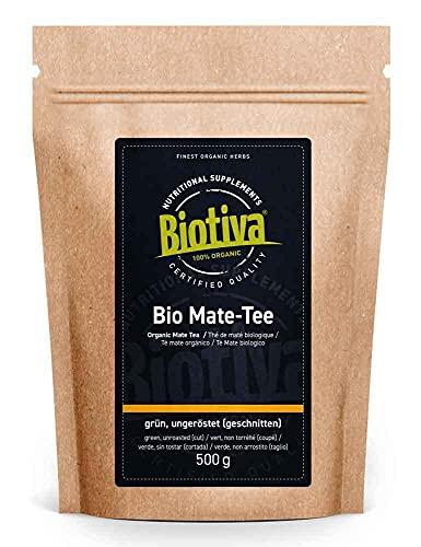 Matetee Bio 500g - ungerösteter grüner Mate Tee - Koffeinhaltige Yerba Mateblätter - Bio-Anbau - Verpackt und kontrolliert in Deutschland