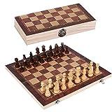 Lizefang Juego de ajedrez portátil 3 en 1, ajedrez, Damas y Backgammon 3, Juego de ajedrez de Madera con Tablero de ajedrez Plegable, ajedrez Multifuncional para Interior