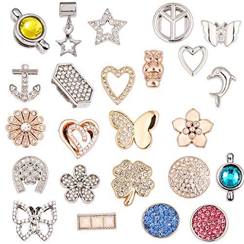LUXERY Damen 20 stück Charm für Armband,Edelstahl Schmuck Gestalten mit Charms Mesh Frauen Individuelle Anhänger Zirkonia Schiebe-perlen Slider
