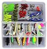 Proberos® Fishing Lure Kit Set 101Pcs | Mixed Universal Assorted Fishing Lure Set with Fishing Tackle Box | Including Spinners, Worm, Spoons, Hard Lure, Sinking Lures, Treble Hooks.