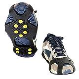 ZEYUE 10 Zapatos De Goma De Clavos Cubren Los Crampones, Zapatos Antideslizantes Urbanos Cubren Los Crampones, Fundas Antideslizantes para Hielo Y Nieve, Garras para Nieve Unisex De 10 Dientes