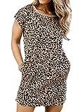 CORAFRITZ - Vestito da donna con stampa leopardata, a maniche corte, casual, girocollo, estivo, spiaggia, con tasche Leopard M
