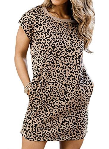 CORAFRITZ Vestido de verano de manga corta para mujer, casual, estampado de leopardo, vestido de túnica con bolsillos, vestido de casa para mujer