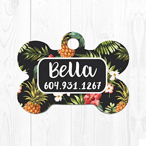 onepicebest Pet ID Tags, Pet Tag Pineapple Dog Tags for Dogs Custom Dog Collar Tag Cute Dog ID Tags Puppy Tag Tropical Custom Pet ID Tag for Dog Tag ID, Printed Double Sides - Stainless Steel