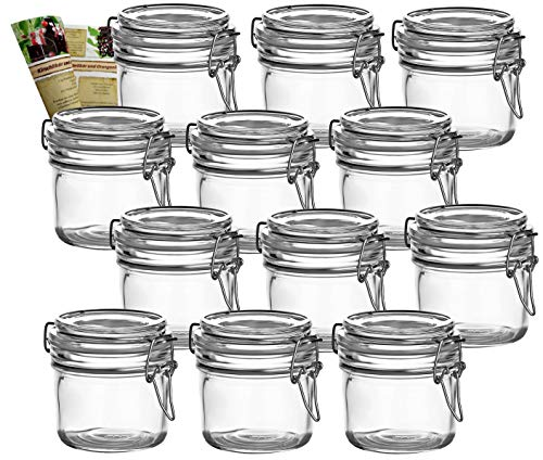 gouveo 12er Set Bügelgläser 200 ml Rund incl. 28-seitige Flaschendiscount-Rezeptbroschüre Vorratsgläser mit Bügelverschluss