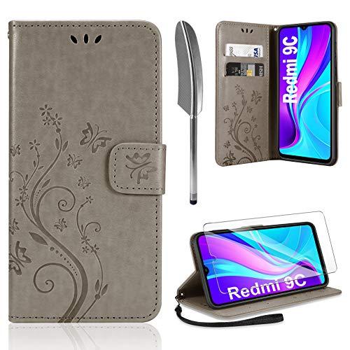 AROYI Lederhülle Kompatibel mit Xiaomi Redmi 9C Hülle & Schutzfolie, Flip Wallet Handyhülle PU Leder Tasche Hülle Kartensteckplätzen Schutzhülle Kompatibel mit Xiaomi Redmi 9C Grau