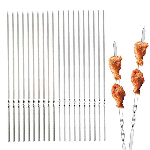 WELLXUNK Spiedini Acciaio Inox per Barbecue 20 Pezzi Spiedini in Metallo Riutilizzabili Spiedini BBQ per Kebab, Verdure, Bistecche, Mais, con Manico ad Anello