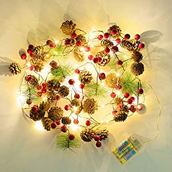 ANSUG Waterproof Garland String Lights Remote Control 8 Modes 2M 20 LED Xmas Decoration Lights with Red Berry and Pine Cone for Indoor Outdoor Christmas Decor