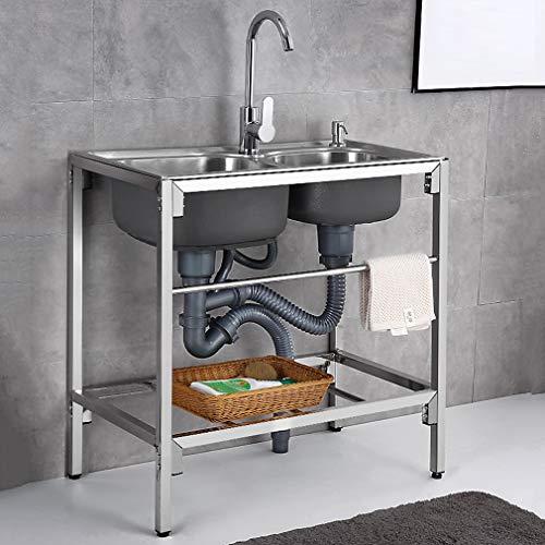 Kitchen Sink. Fregadero Comercial Simple con Soporte Fregadero Doble Extraíble De Acero Inoxidable 304 con Grifo Giratorio De 360 ° Fregadero Multifuncional para Lavado De Manos De Cocina