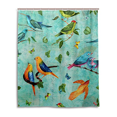 MyDaily Vintage Duschvorhang mit Vogel- & Blumen-Motiv, 152,4 x 182,9 cm, schimmelresistent und wasserfest, Polyester Dekoration Badezimmer Vorhang