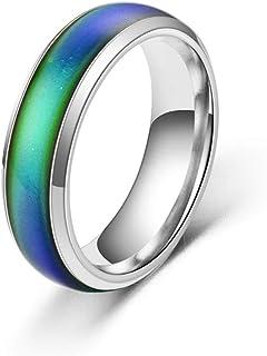خاتم من الفولاذ المقاوم للصدأ متغير اللون مقاس 6 مم - اللون - مؤشر درجة الحرارة - تغيير اللون النحاسي خواتم زوجين