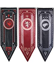 """Awyjcas Game of Thrones House Sigil Tournament Banner (18"""" by 60"""") 100% Polyester High Quality Banner - Set of 3 Party Supplies …"""