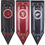 Awyjcas Game of Thrones House Sigil Tournament Banner (18' by 60') 100% Polyester High Quality Banner - Set of 3 Party Supplies …