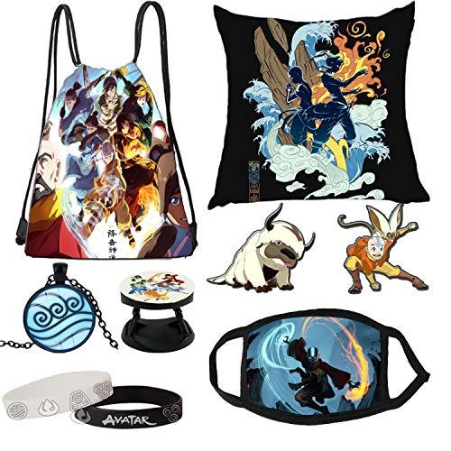 ESMAN Avatar The Last Airbender Merch, bolsa de cordón, pegatinas, alfileres de botón, soporte para anillo de teléfono, collar, pulsera, set de regalo para fans (C)