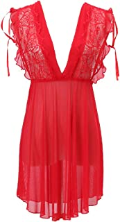 IngerT Women's Elegant Lace Babydolls V Neck Backless Sexy Sleepwear See through Nightwear Lingerie Set