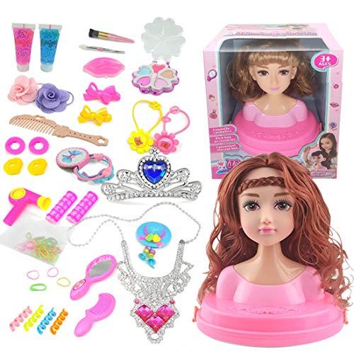 Haunen Frisierkopf Kinder, Frisierkopf Schminkkopf für Kinder, inklusive Kosmetik und Zubehör, ab 3 Jahren