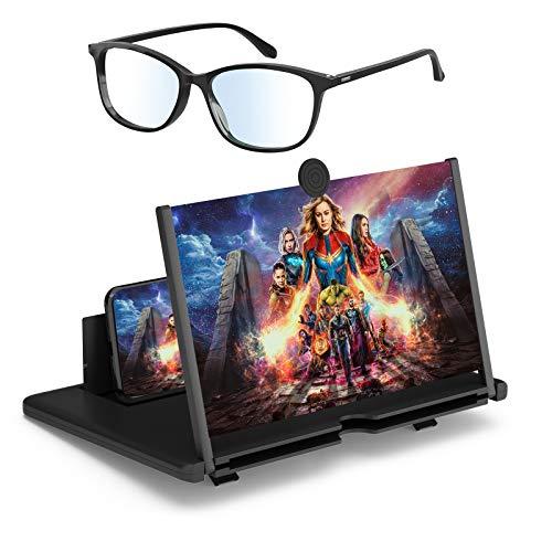 3D Bildschirmverstärker und Brille gegen blaues Licht EIN Set 12' Bildschirmlupe Vergrößerungsglas für das Ansehen, Faltbarer Handylupe Bildschirm Vergrösserung für alle Smartphones schwarz