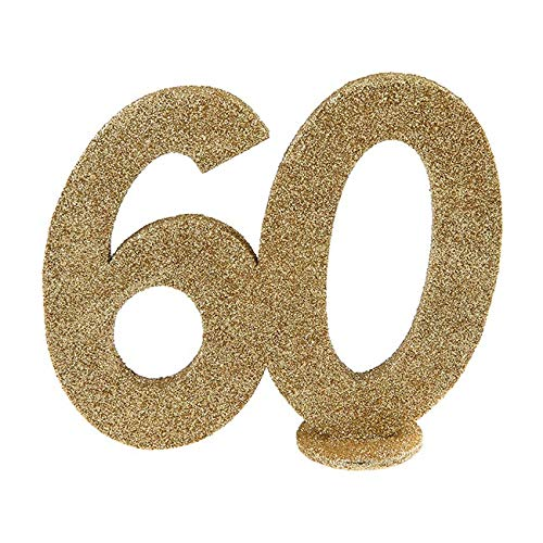 Tafeldeko.de Jubiläumszahl 60 in Gold glitzernd zum Aufstellen, 10 cm
