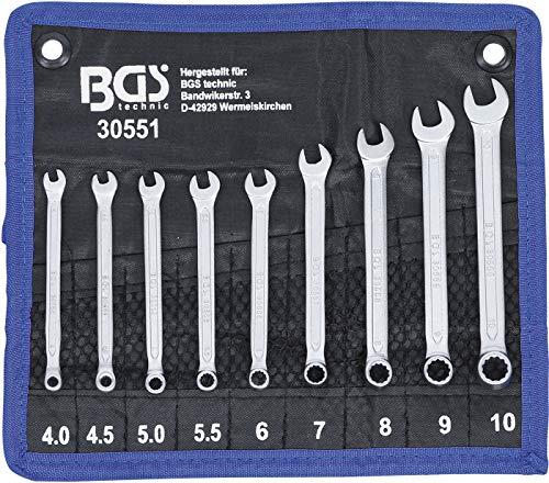 BGS 30551 | Maul-Ringschlüssel-Satz | 9-tlg. | SW 4- 10 mm | DIN 3113-A | inkl. Tetron-Rolltasche | Gabelringschlüssel