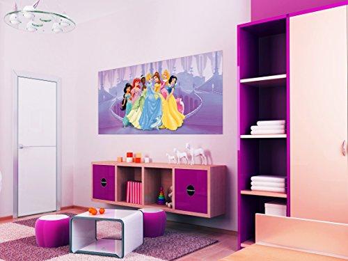 AG Design FTDh 0618 Prinzessinen Disney Princess, Papier Fototapete Kinderzimmer - 202x90 cm - 1 Teil, Papier, multicolor, 0,1 x 202 x 90 cm