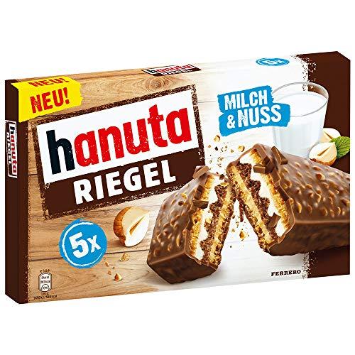 hanuta Riegel - 5er Packung (5 Riegel à 34,5g), mit einzeln verpackten Riegeln, leckerer Schokoriegel aus Waffel, Milch und Haselnuss, ohne Farbstoffe und Konservierungsstoffe