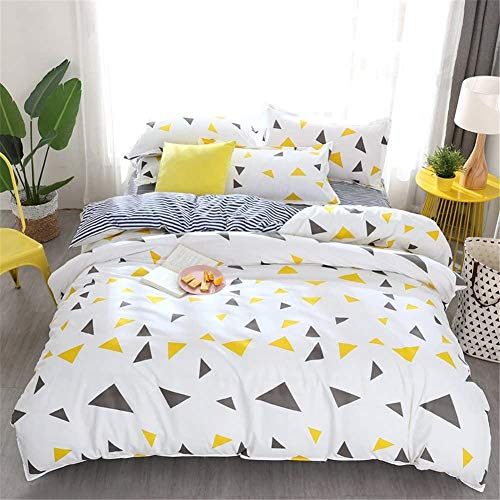 BH-JJSMGS Four-piece bedding, with sheets and pillowcases, cute polka dot triangle pattern duvet cover, microfiber printed duvet cover and pillowcase, yellow-gray Double-200x200cm