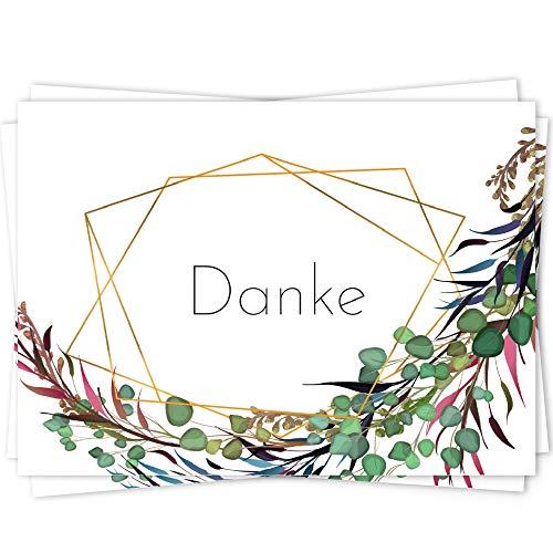 10 Dankeskarten Set, Dankeskarte, Karte Danke, Postkarte Danke, Dankeschön Karten, Thank you cards, Dankeskarten Hochzeit, Danke Karten DIN A6 - ZweigGold
