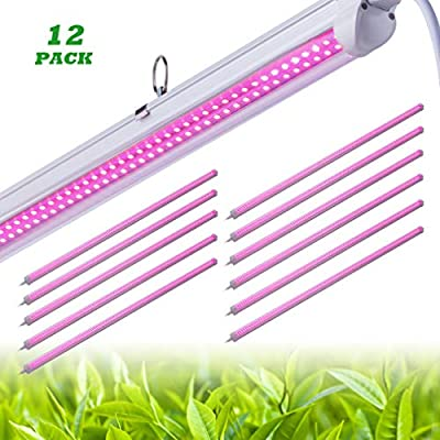 12 PACK LED Grow Light,T8 Integrated Growth Tube Lamp 4ft 540W(45w x 12 2800W Equivalent),Full Spectrum Sunlight Replacement,Double Row,Linkable Design,High Output,4 Foot Plant Lights for Indoor Plant