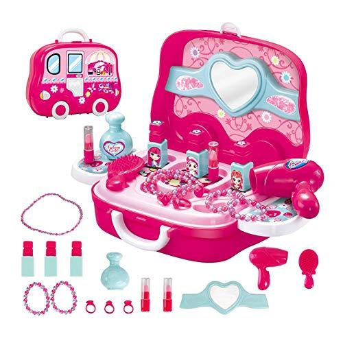 TRULIL Juego de Maquillaje para niños Estuche de Maquillaje Profesional y Lavable, Juego de Labios, Collar, Anillo, Peine, peluquería, Juguetes, Juego de Belleza con Caja de Maquillaje
