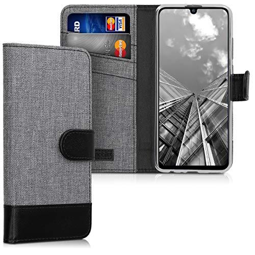 kwmobile Wallet Hülle kompatibel mit Huawei P Smart (2019) - Hülle Kunstleder mit Kartenfächern Stand in Grau Schwarz