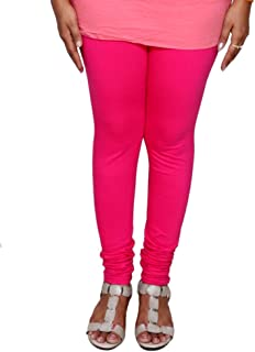 IndiWeaves Womens Prremium Cotton Full Ankle Length Solid Colors Leggings-Dark Pink-Free Size