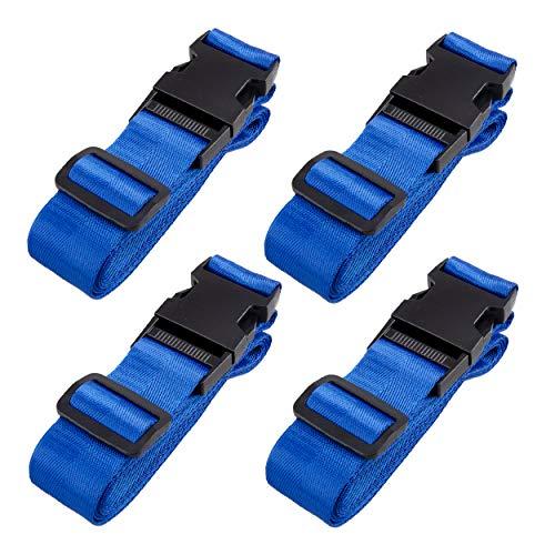 TRIWONDER Schwarz Nylon Gurtband für Rucksäcke, Gepäck, Verstellbare Gepäckgurt, 4 Stück (Blau - 25mm)