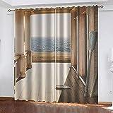 XDJQZX Cortinas opacas para dormitorio de niños, supersuaves, con aislamiento térmico, con ojales en 3D, vistas al mar de...
