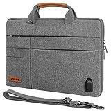 DOMISO 12,5-13 pulgadas impermeable Funda de protección para ordenador portátil con puerto de cargador USB externo para tablet/13' MacBook Pro / 12,9' iPad Pro/ASUS/HP, Gris