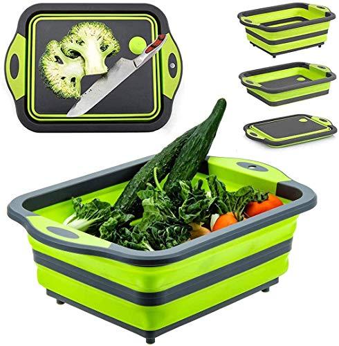 Tabla de cortar plegable con colador, plegable multifunción, fregadero, bandeja de plástico de silicona, para frutas, verduras, lavado y drenaje, cesta de almacenamiento (verde)