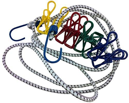 iapyx Flexible Wäscheleine mit 8 beschichteten Klammern, 190-240cm