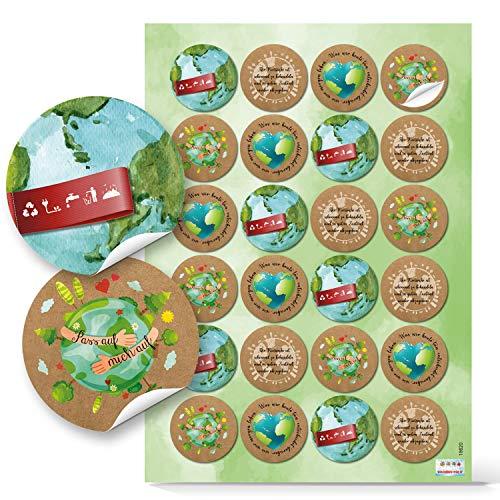 Logbuch-Verlag 48 Aufkleber Umweltschutz Natur Globus Erde Ø 4 cm grün blau braun - Umwelt schützen Sticker Recycling Naturschutz mit Herz
